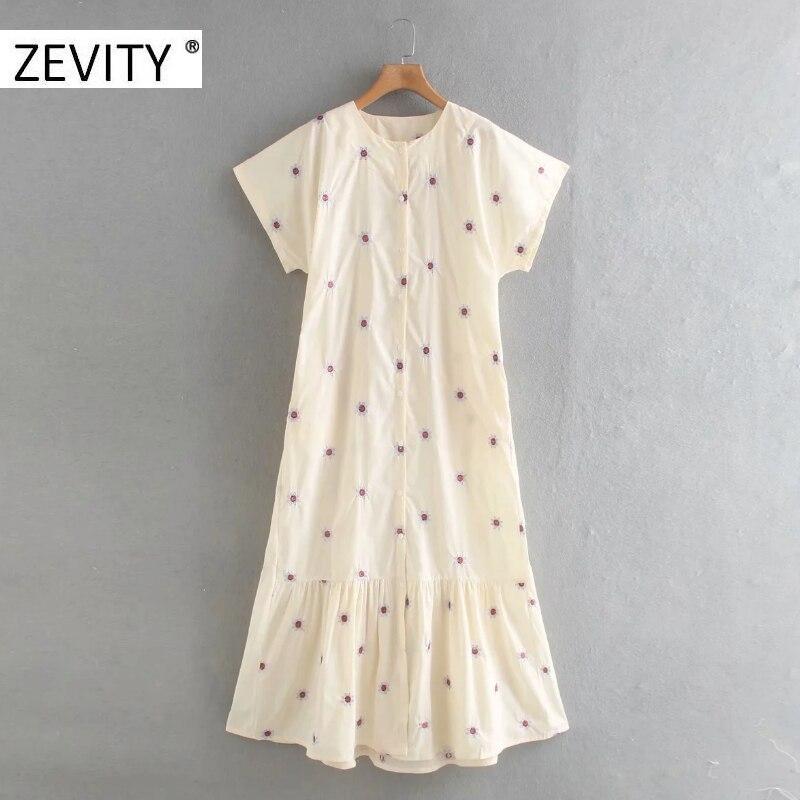 Zevity women vintage o neck short sleeve floral embroidery vestido shirt dress chic office ladies pleats business dresses DS4390