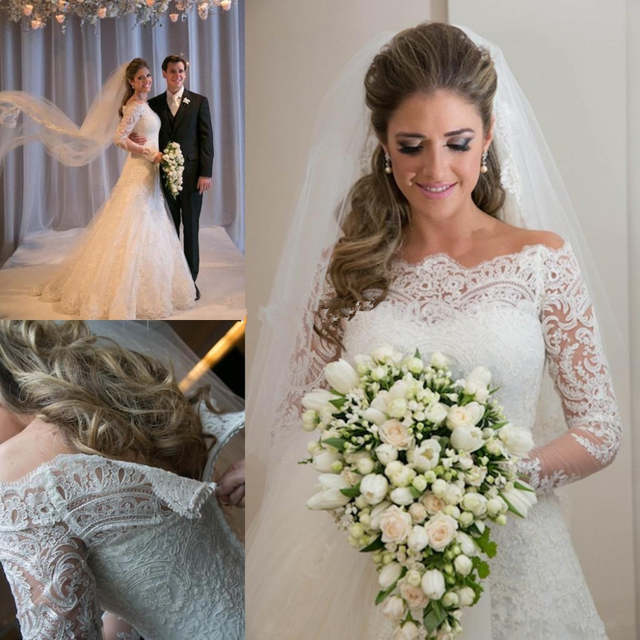 Online Shop Vestido De Noiva 2020 Romantic Applique Lace Wedding