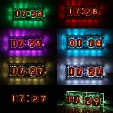 Em-12 tubo de brilho relógio colorido 4 dígitos led retro relógio berçário casa sala estar quarto decoração relógio nixie