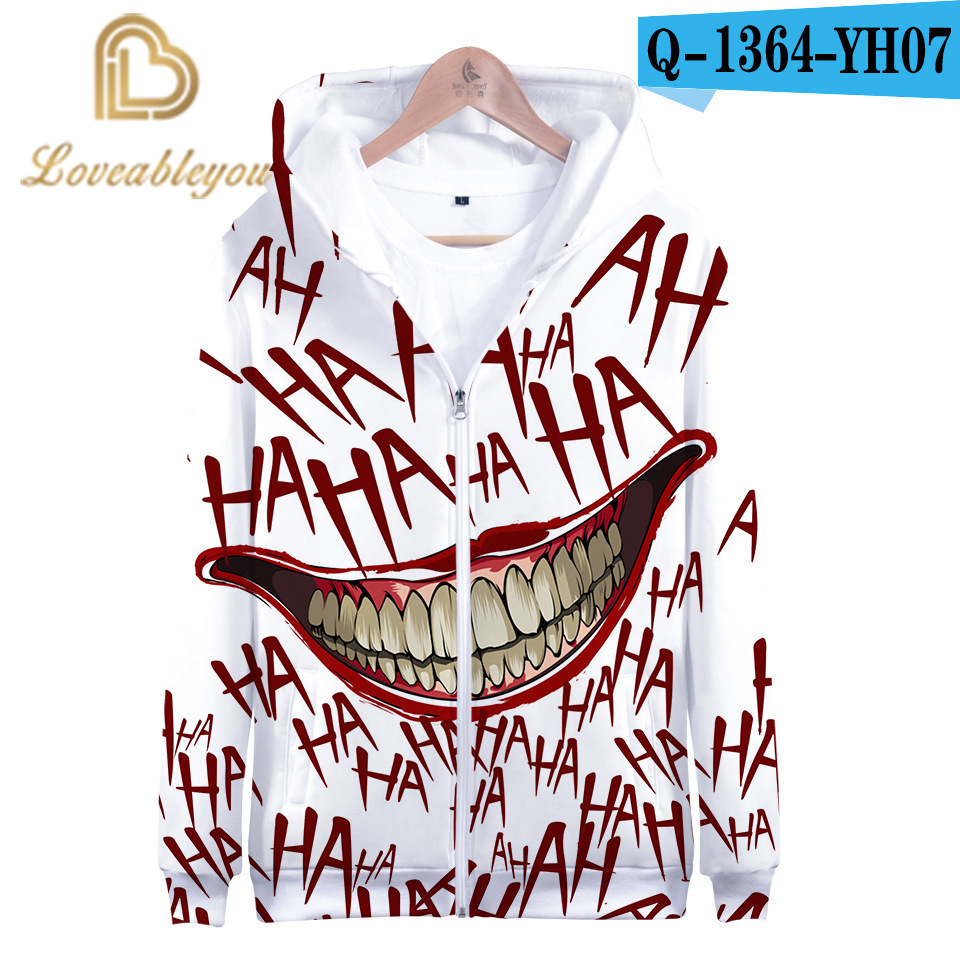 Hot Sale Haha Joker 3D Print Sweatshirt Zipper Hoodies Men and Women Casual Funny Spring/Autumn Streetwear Hoodies Sweatshirt