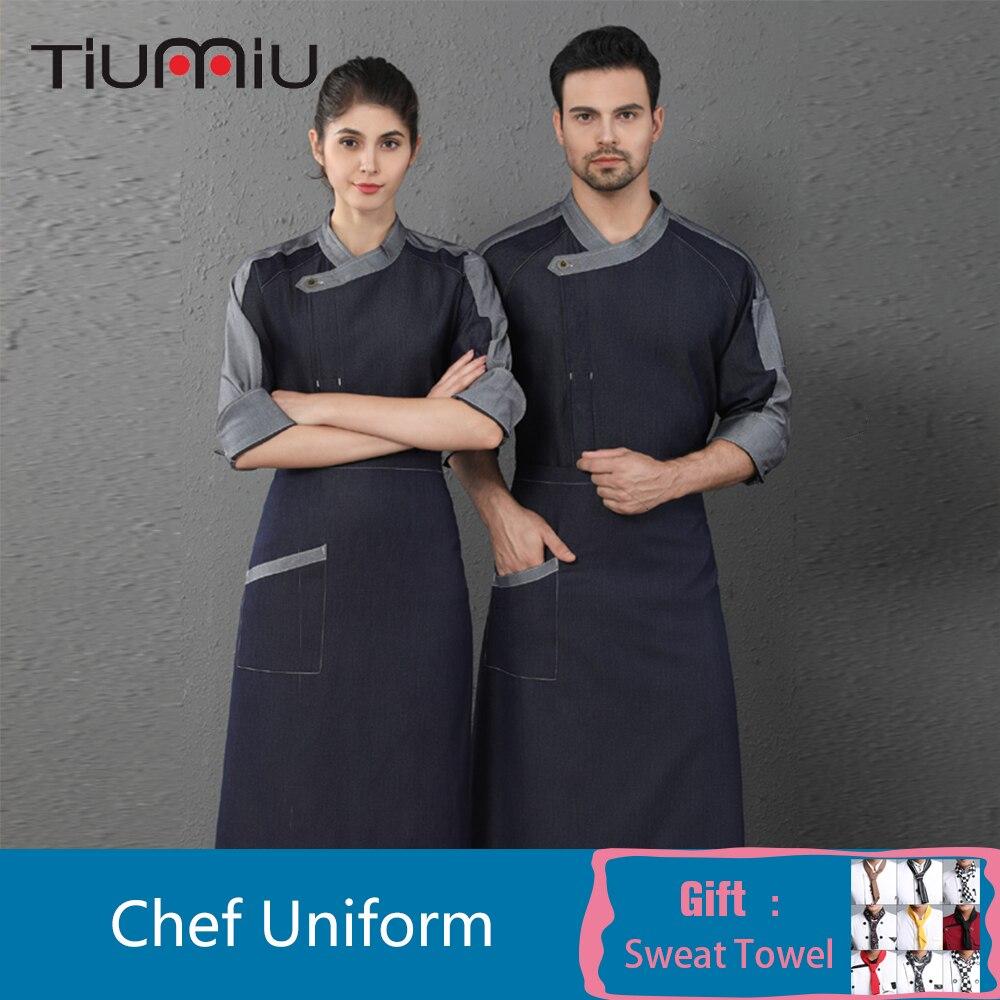 Denim Long Sleeve Chef Uniform Unisex High Quality Oblique Collar Overalls Coat Restaurant Cafe Barber Shop Bakery Waiter Shirt