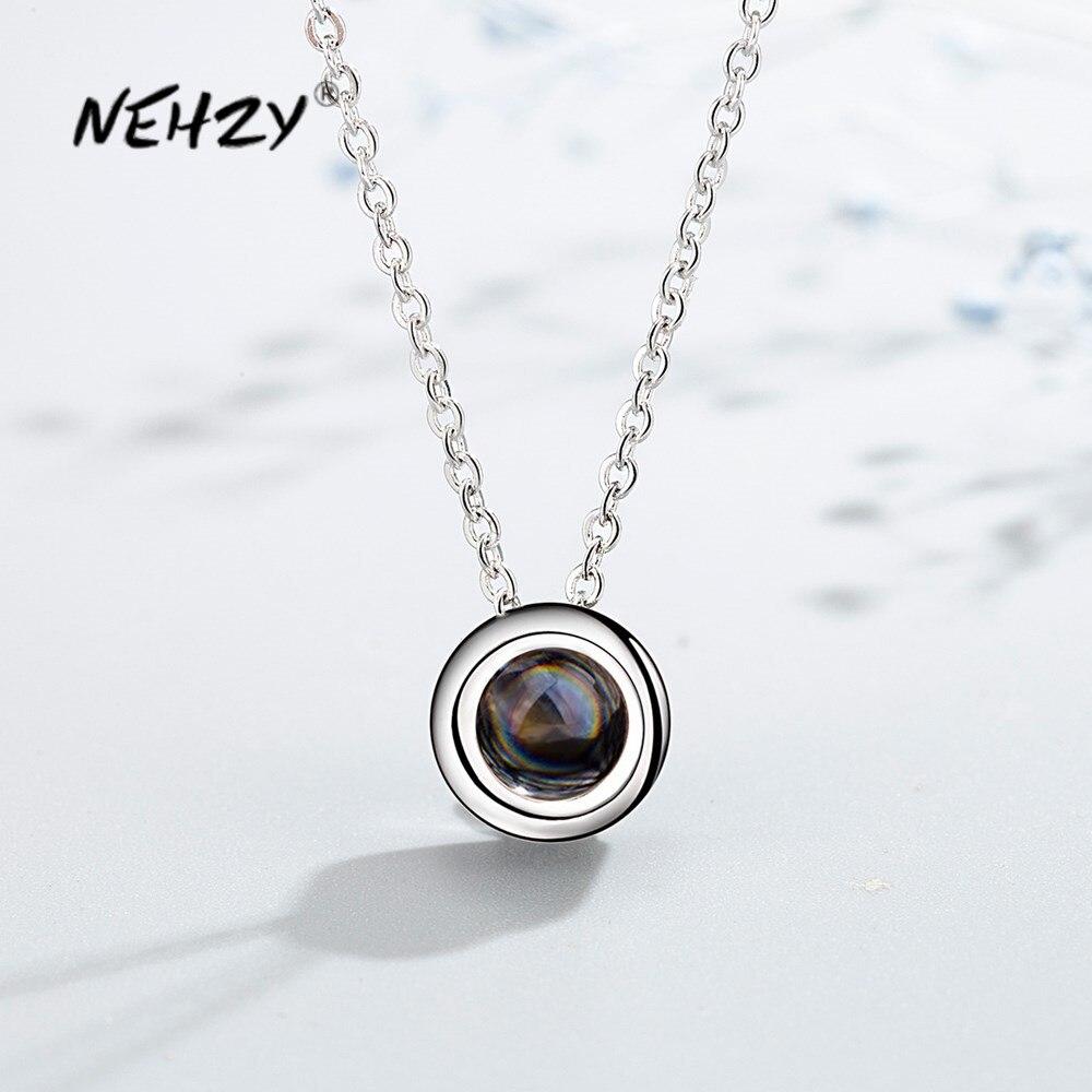 NEHZY 925 argent Sterling nouvelle femme bijoux de mode de haute qualité Simple cristal Zircon rond pendentif collier longueur 40 + 6CM