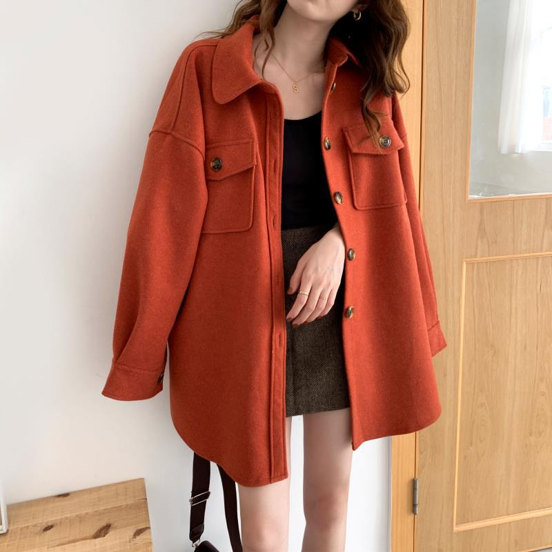 2019 Autumn And Winter Explosion Models Solid Color Long-sleeved Retro Woolen Trench Coat 3 Colors 2 Yards