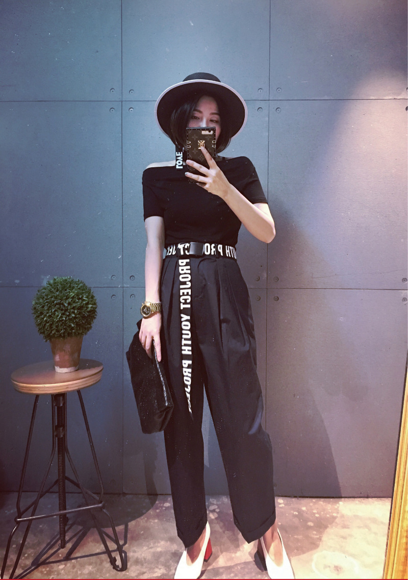 2019 New Woman Gothic Harajuku Street Belt Canvas Punk Letters Printed Decoration Loop Shaped Mental Buckle Jeans Waist Belt