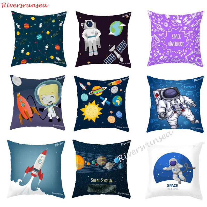 American Style Cartoon Astronaut Pillow Cushion Personalized Universe Starry Sky Spaceship Car Backrest Pad For Kids Boy Gift