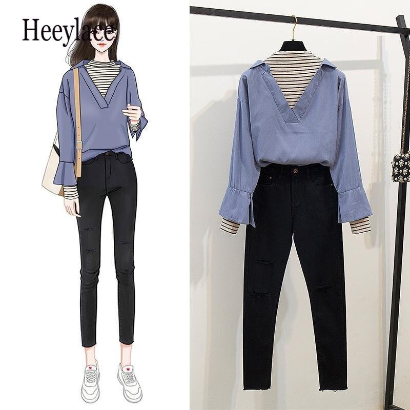 Cool Girl Denim Pants Set Patchwork Shirt 2019 New Korean Style Women 2 Piece Set Fall Clothes Pencil Trouser 2 Piece Outfits