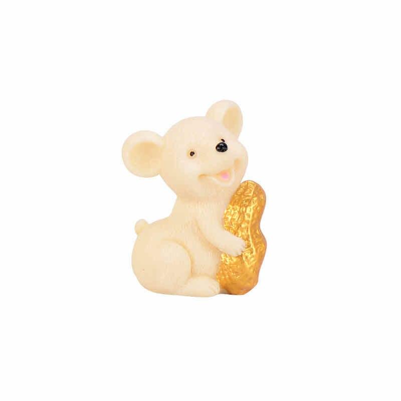 1 Pc di Denaro Fortunato Fortuna Del Mouse Del Fumetto Ornamento Ricco Mouse Piccola Statua Poco Figurine Artigianato Carino Animale Desktop di Casa Decorazione