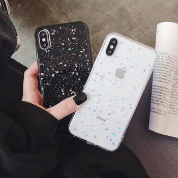 IMY Glitter Phone case For iphone 11 case 11 Pro XS Max XR X 6 6S 7 8 Plus moon Star Sequins Soft Bling Clear Cover coque Capa image