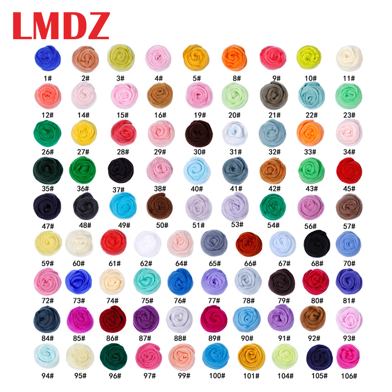 LMDZ  50g 26 Colors Materials Soft Mix Colors Dyed Felting Wool Tops Roving Wool Fibre Hand Spinning For Needle DIY Doll