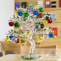 Crystal Glass Apple Tree Ornaments 36pcs 4cm Hanging Apples Home Decor Fengshui Figurines Crafts Gifts Souvenir Miniatures