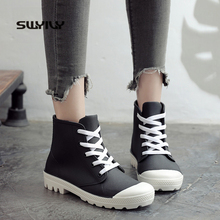 SWYIVY 2019 New Fashion Rain Boots Women Shoes Candy Color Non slip Jelly Shoes Woman Ankle Boots Lace Up Waterproof Gumd Boots