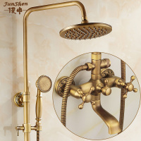 Copper antique shower set European shower shower faucet retro shower bathroom home thermostatic shower