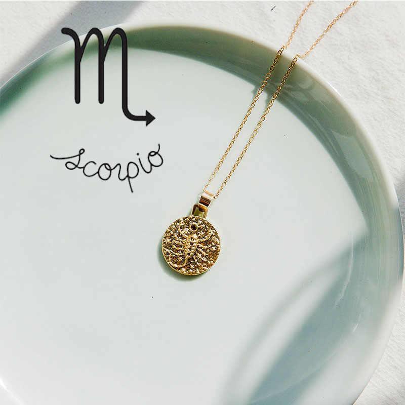 12 konstelacji naszyjnik biżuteria złota Virgo Libra wisiorek łańcuszkowy choker naszyjnik kobiety przyjaciele Party prezenty naszyjnik collares