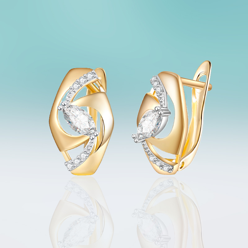 Trendy Gold Color Plated Hollow Earrings Micro Inlay Cubic Zirconia Stud Earrings for Women Jewelry Simple Gifts Brincos