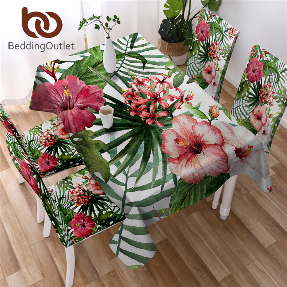 BeddingOutlet Flowers Kitchen Tablecloth Leaves Red Green White Waterproof Table Cloth Tropical Plants Decorative Table Cover