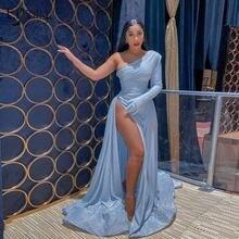 Сексуальное детское синее платье с блестками и высоким разрезом