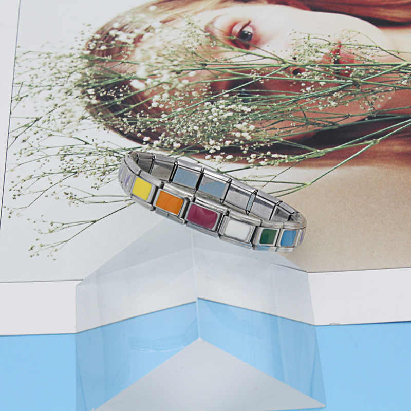 Hapiship 9mm ancho Original Margarita corazón Flor Mariposa Cruz Verde italiano encanto pulsera Acero inoxidable joyería fabricación DJ01