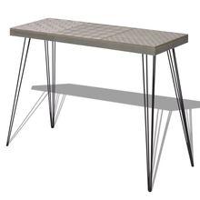 "IKAYAA Retro Console Table 35.4""x11.8""x28"" Gray Side Table MDF Steel Furniture Console"