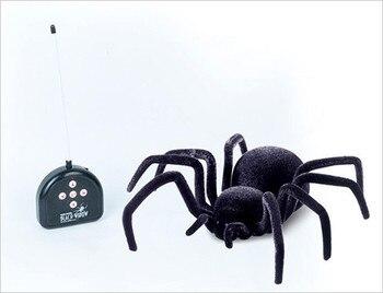 [Zabawny] elektroniczny zwierzak pilot flash tarantula oczy świecą inteligentne 4Ch RC czarny zabawkowy pająk Tricky Practic żarty zabawki modele