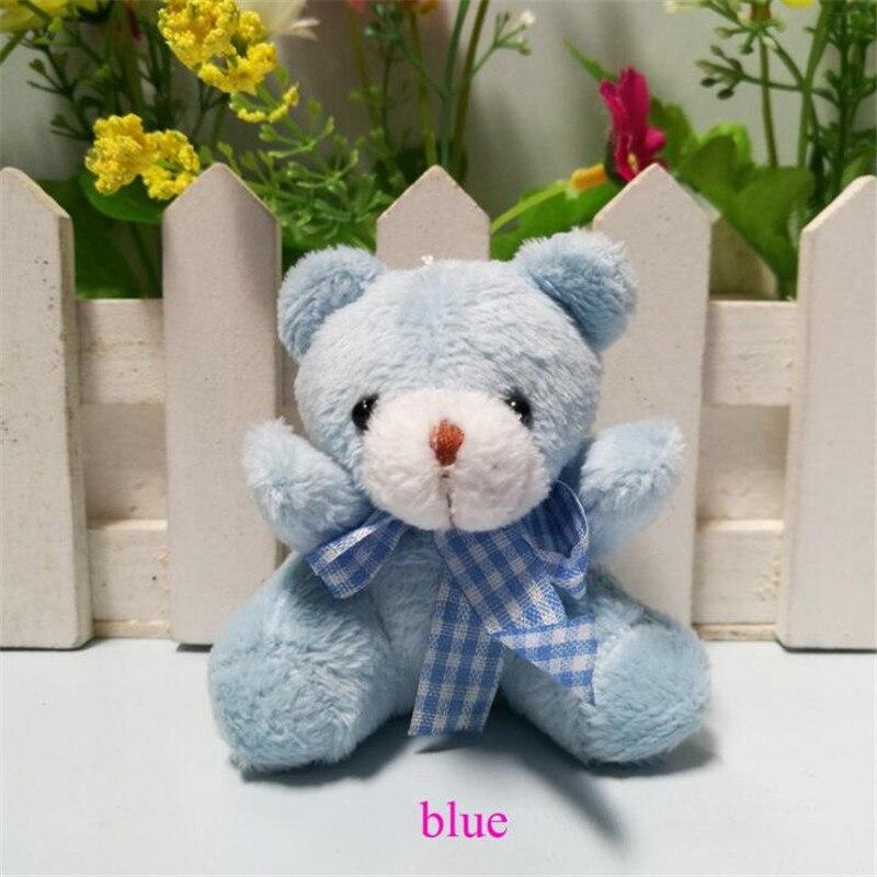 HANDANWEIRAN 1pcs Mini Creative Plaid Bow Tie Bear Plush Doll Premium Pp Cotton Filled Decorative Pendant for Boys & Girls