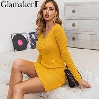 Glamaker Knitted yellow sexy sweater dress Women elegant mini short autumn dress Party club long sleeve winter dress ladies