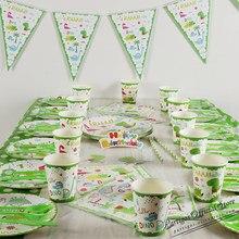 Tema do dinossauro festa conjunto de utensílios de mesa prato de copo de papel descartável toalha de mesa bolo topper feliz 1st aniversário fontes para meninos