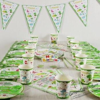 Вечерние столовые приборы с динозавром, одноразовый Бумажный стаканчик, тарелка, скатерть, торт, топ на день рождения, вечерние принадлежно...
