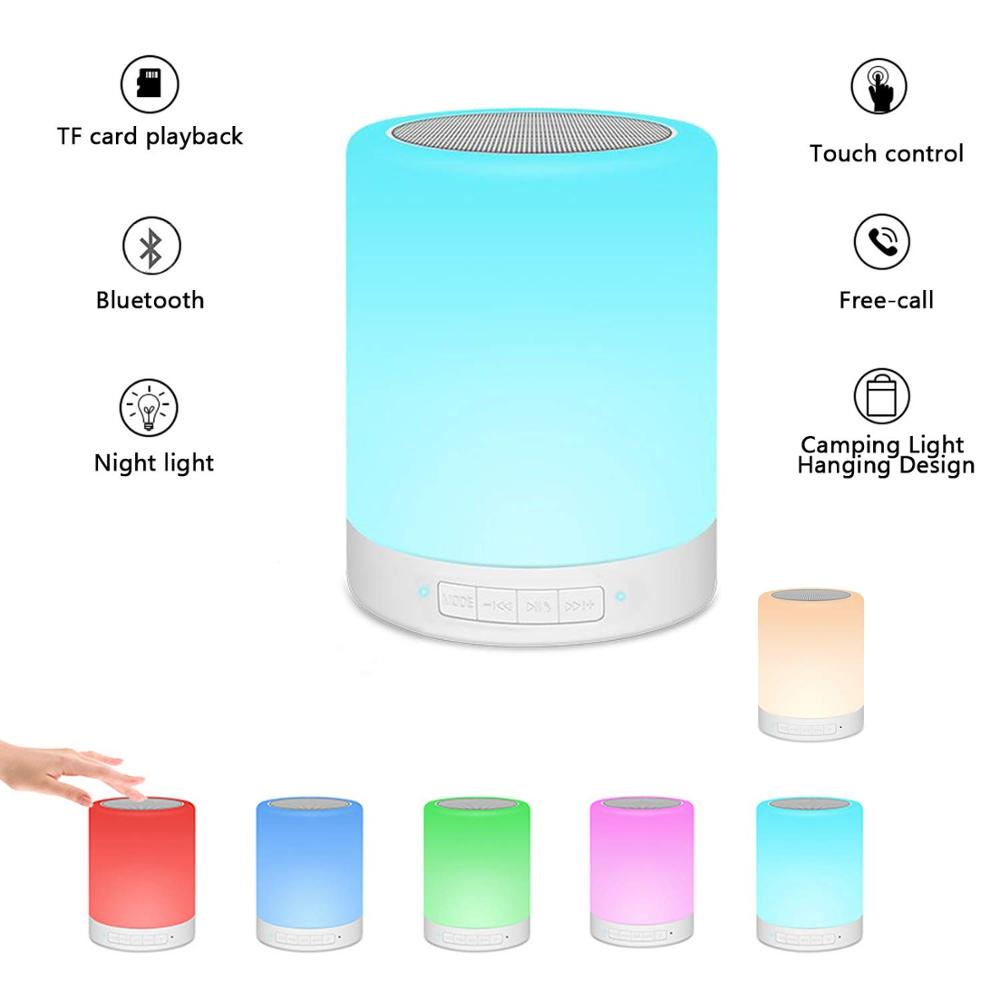 Table Lamp Portable Bluetooth Speaker,Rechargeable Night Light With Hook, Touch Sensor Bedside Lamps , Color Changing RGB