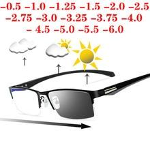 Güneş fotokromik miyopi gözlük erkekler bitmiş bukalemun Lens reçete gözlük yarım Metal çerçeve 0.5  0.75  1.0  2 6