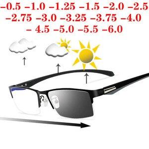 Image 1 - Soleil photochromique myopie lunettes hommes fini caméléon lentille Prescription lunettes demi métal cadre 0.5  0.75  1.0  2 à 6