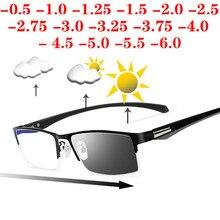 Sun photochromic miopia óculos homem terminou lente camaleão prescrição óculos meia armação de metal 0.5  0.75  1.0  2 a 6