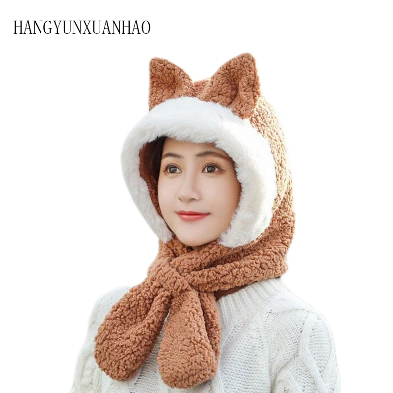 HANGYUNXUANHAO Winter Hat For Women Cute Cat Ear Thick hat Beanies Fashion Fur With Fox Cloak Knitted