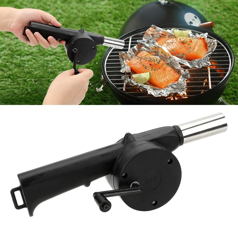 Outdoor Barbecue Fan Hand-cranked Air Blower Portable BBQ Grill Fire Bellows Tools Picnic Camping Accessories