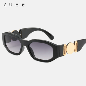 ZUEE 2020 Fashion Personalized Metal Avatar Decorative Men Sunglasses Irregular Small Frame Women Sun glasses UV400 de sol