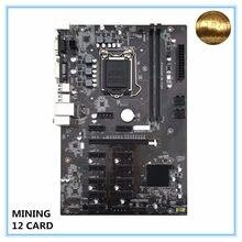 Novo mainboard de mineração b250 btc lga1151 cpu ddr4 memória 12 cartão usb3.0 expansão desktop placa-mãe