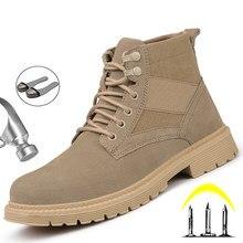 Sapatas de segurança de trabalho para homens botas de tornozelo sapatos de trabalho indestrutíveis botas de segurança de aço toe anti-punctura sapatos masculinos calçado