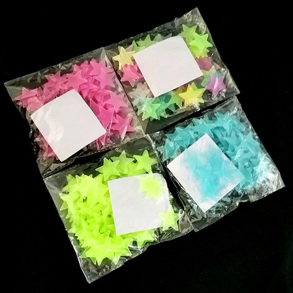 150X100 шт/мешок 3D звезды светящиеся наклейки на стену светящиеся флуоресцентные наклейки на стены для детей Детская комната Спальня Наклейки ... - 5