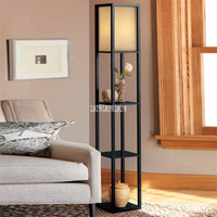 JLKY255 Chinese Style Density Board Tea Table Lamp Living Room Wood Shelf Floor Lamp Modern Simple Bedroom Shelf Stand Lamp