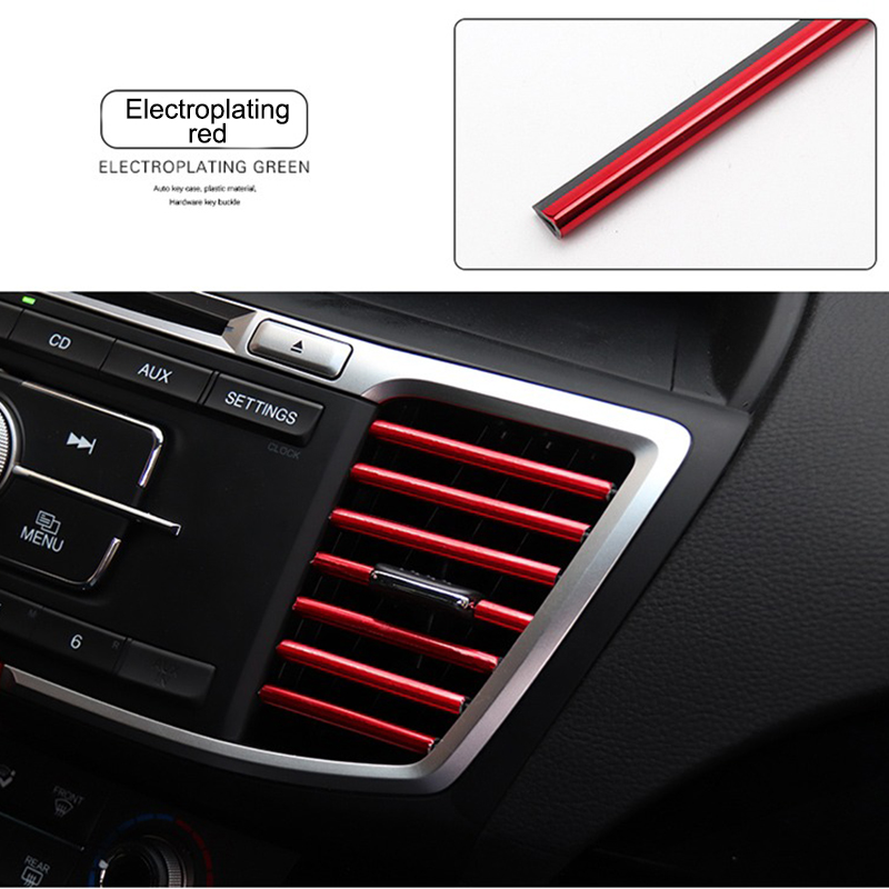 New Car Air Conditioner Outlet Vent Grille Strips Air Outlet Trim Interior Stickers Decoration Interior Moulding Trim Strips