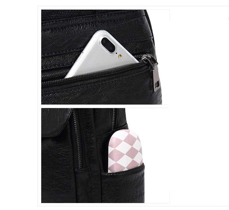 Wanita Kulit Ransel Wanita Tas Bahu Sac Dos Wanita Bagpack Vintage Tas Sekolah untuk Gadis Perjalanan Paket Kembali Sekolah c1122