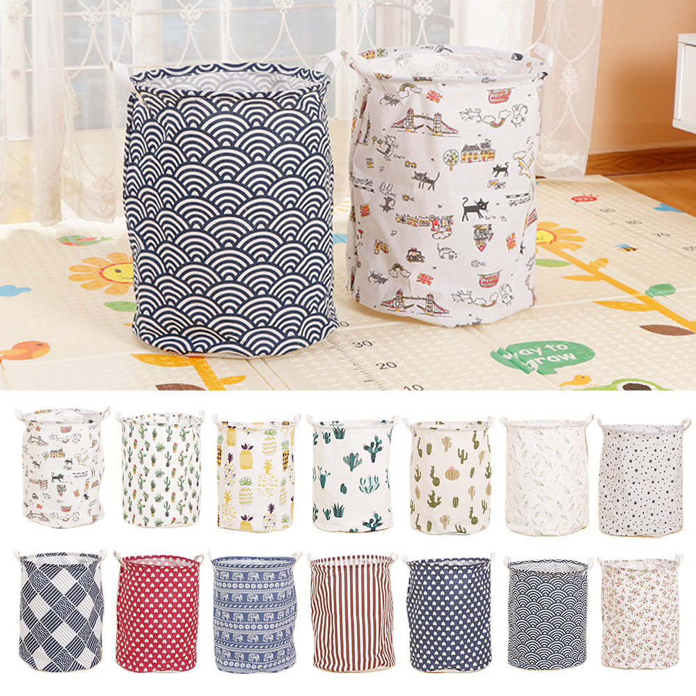 Bucket-Organizer Storage-Bag Laundry-Basket Canvas Sundries Foldable Home Toys-Holder title=