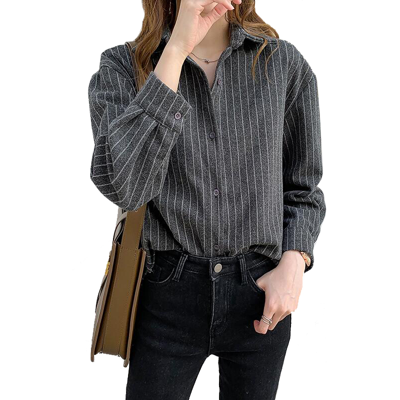 Winter & Autum young lady  leisure Long sleeve Color block printing shirt