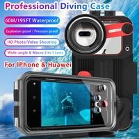 For iPhone 6 7 8 / 6 7 8 Plus / X XS XR XS MAX/ 11 11Pro 11Pro Max 360 Full Protection Waterproof Case Cover 60M/195ft Diving