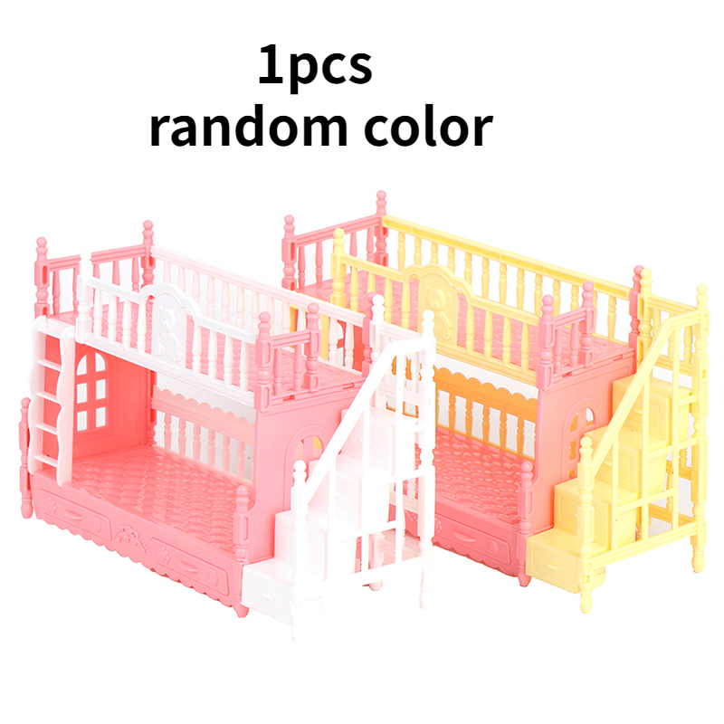 1pcs Dollhouse Bedroom Simulation Bunk Bed for 9-11inch Doll Playset Toy Random