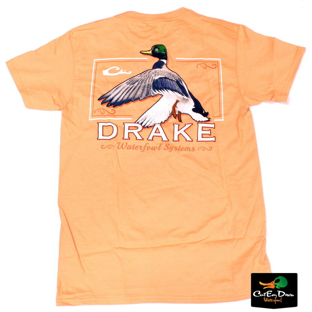 NEW DRAKE WATERFOWL SOUTHERN COLLECTION RISING S/S T-SHIRT MELON MEDIUM 2019 New Arrival Men T Shirt