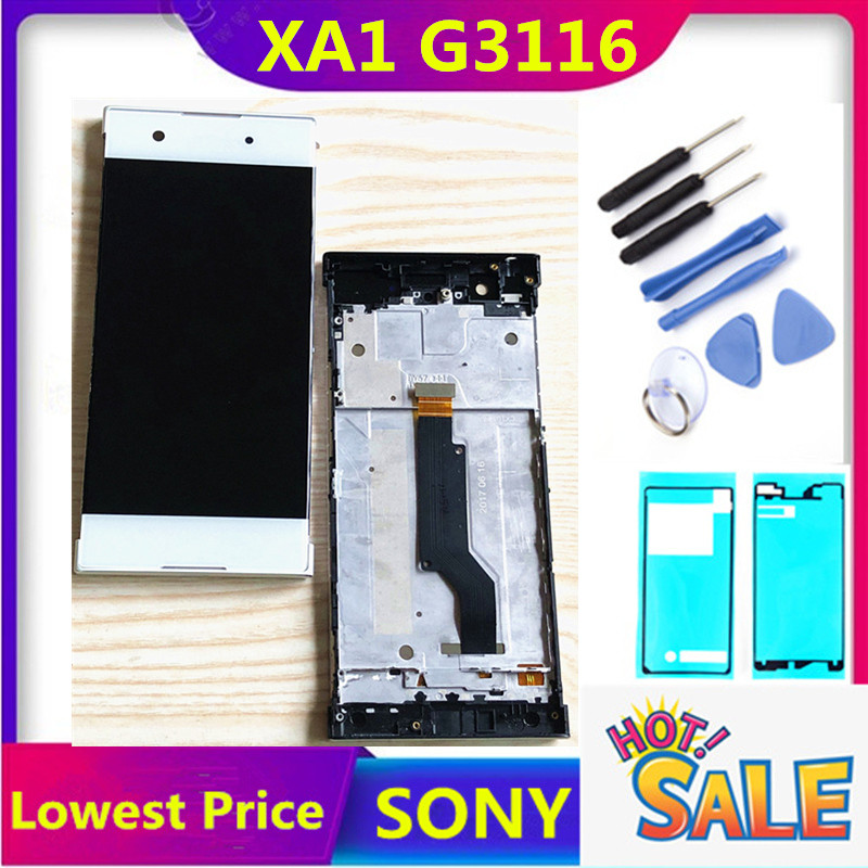 ERILLES SONY Xperia XA1 G3116 G3121 G3123 G3125 G3112 5.0 Inch LCD Display Digitizer Assembly Touch Screen Frame With Free Tools