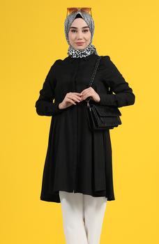 Minahill czarna tunika moda muzułmańska islamska odzież skromna topy arabska odzież długa tunika dla kobiet 8160-02 tanie i dobre opinie TR (pochodzenie) tops Aplikacje Bluzki i koszule Octan Dla dorosłych