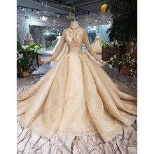 BGW HT5613 złote muzułmańskie suknie ślubne na szyję długie rękawy koralik Shiny suknia ślubna suknia ślubna z pociągiem 2020 New Fashion