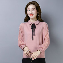 Woman Chic Blouse Peter Pan Collar Lace Ribbon Bow Knit Neck Design Tops Long Puff Chiffon Sleeve Knitting Shirts Pink Black White Khaki chic black polo collar long sleeve blouse for women