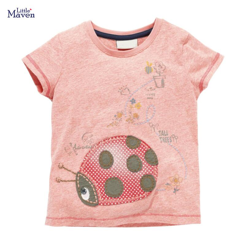 Little Maven Children 2020 Summer New Baby Girls Clothes Insect Print Brand Cotton Short Sleeve T Shirt Girl Tee Tops 51655